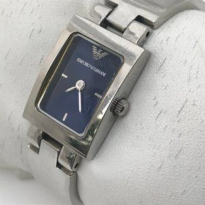 Emporio Armani Women Watch Silver Tone Blue Dial
